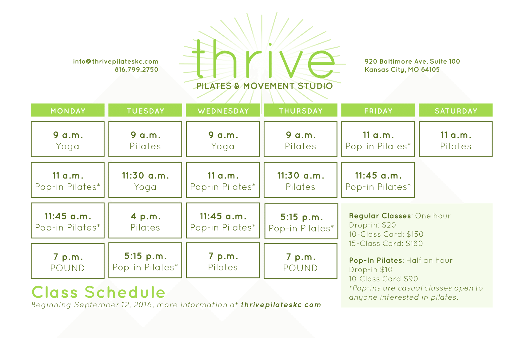 Thanks for joining us for Teaser Week! Full class schedule starts Sept 12!